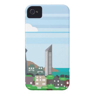 湖畔の海の海のベクトルの都市景観によっては家へ帰ります Case-Mate iPhone 4 ケース