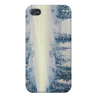 湖畔の雪の木の反射 iPhone 4/4S カバー