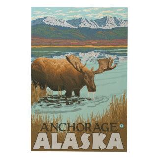 湖-アンカレッジ、アラスカで飲んでいるアメリカヘラジカ ウッドウォールアート