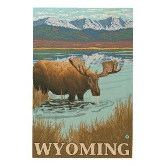 湖-ワイオミングで飲んでいるアメリカヘラジカ ウッドウォールアート