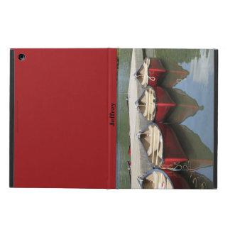 湖、名前入りなフォリオの場合の3つの赤いカヌー、 iPad AIRケース