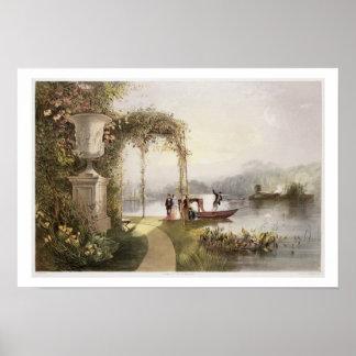 湖、「庭からのTrenthamホールの庭、 ポスター