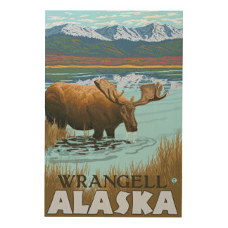 湖- Wrangell、アラスカで飲んでいるアメリカヘラジカ ウッドウォールアート