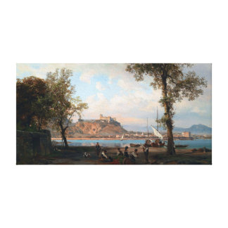 湖MaggioreのウィルヘルムアルフレッドMetzener Angera キャンバスプリント