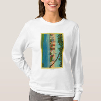 湖Merrittを渡るオークランドのスカイライン Tシャツ