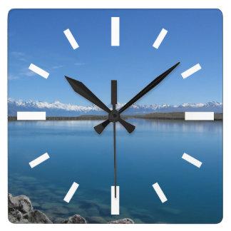 湖Tekapo、ニュージーランド スクエア壁時計