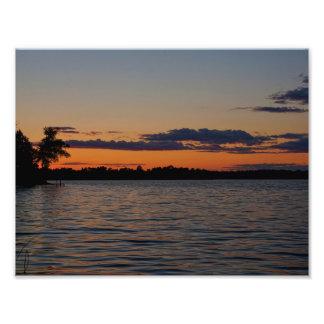 湖Vの日没 フォトプリント