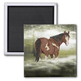 湾および白のしぶきのOveroのペンキの馬 マグネット