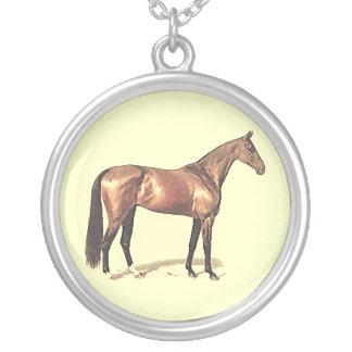 湾の純血種の競走馬 シルバープレートネックレス