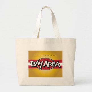 湾区域の赤及び金ゴールドのバッグ ラージトートバッグ