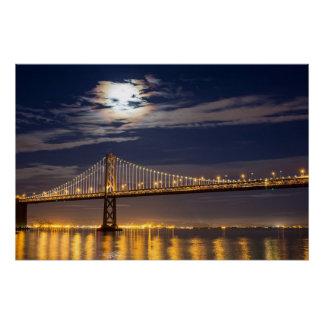 湾橋上のmoonrise今夜 ポスター