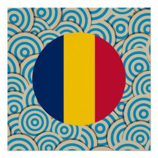 満ちているおもしろいチャドの円形の旗 ポスター