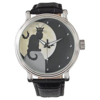 満月および墓碑を持つハロウィンの黒猫 腕時計