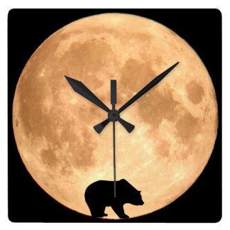 満月くま スクエア壁時計
