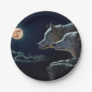 満月で遠ぼえしているオオカミのオオカミ ペーパープレート