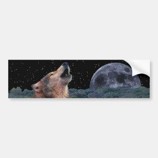 満月で遠ぼえしているオオカミ-数々のプロダクト02 バンパーステッカー