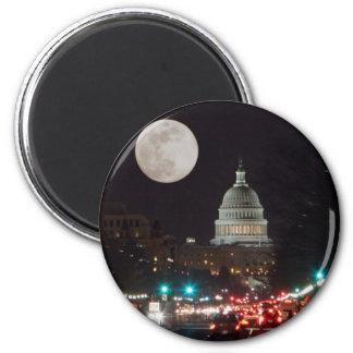 満月との夜の米国の国会議事堂の建物 マグネット