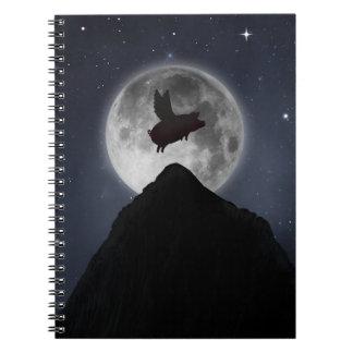 満月に飛んでいるブタ ノートブック