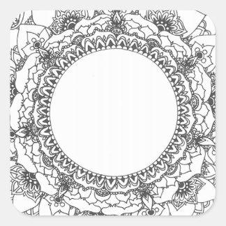 満月の曼荼羅の正方形のステッカー スクエアシール
