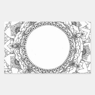 満月の曼荼羅の長方形のステッカー 長方形シール