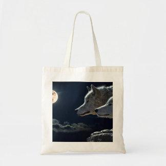 満月の白いオオカミ トートバッグ