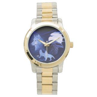 満月を持つオオカミそしてワタリガラス 腕時計