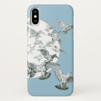 満月を持つ鳥のヴィンテージのアールヌーボーの群 iPhone X ケース