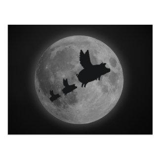 満月を渡る飛んでいるなブタそしてコブタ ポストカード