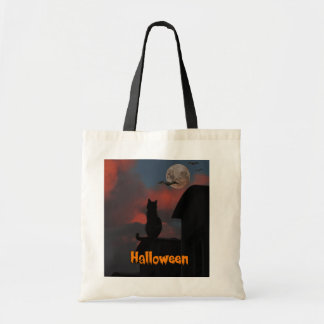 満月ハロウィンが付いている屋根の猫 トートバッグ