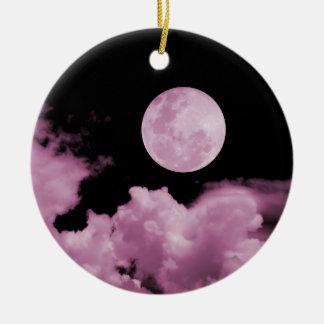 満月及び雲黒及びピンク セラミックオーナメント