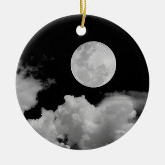 満月及び雲黒及び白 セラミックオーナメント