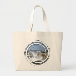 満潮の魚釣り ラージトートバッグ