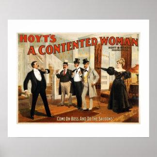 満足そうな女性のヴィンテージの劇場ポスター ポスター