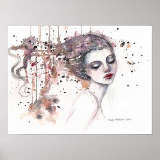 満足なファンタジーの水彩画の芸術の女性12 x 16 ポスター