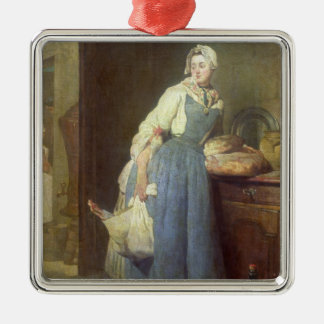 準備を持つ台所女中、1739年 シルバーカラー正方形オーナメント