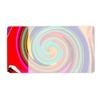 溶かされたクレヨンの鮮やかなカラフルの抽象芸術の渦巻 ラベル
