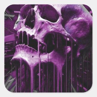 溶かされた紫色のスカル スクエアシール