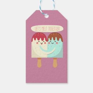 溶けるアイスクリームのカップルのかわいいイラストレーション ギフトタグ