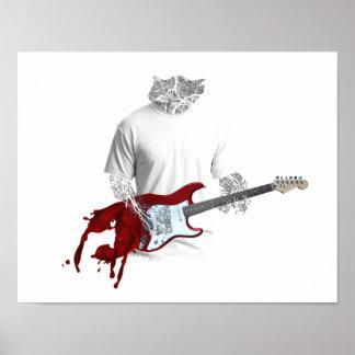 溶けるエレキギターを演奏している抽象的なミュージシャン ポスター