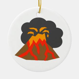 溶岩および煙ることを噴火する漫画の火山 セラミックオーナメント