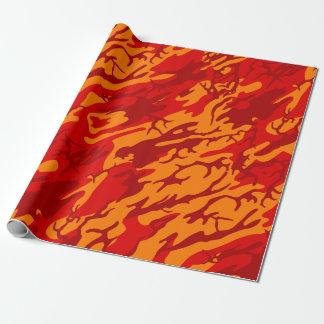 溶岩の赤の迷彩柄 ラッピングペーパー