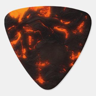 溶岩流の明るいオレンジ及び黒い火山 ギターピック