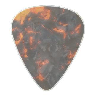 溶岩流の明るいオレンジ及び黒い火山 パールセルロイド ギターピック