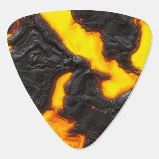 溶岩流の明るく黄色及び黒いオレンジ火山 ギターピック