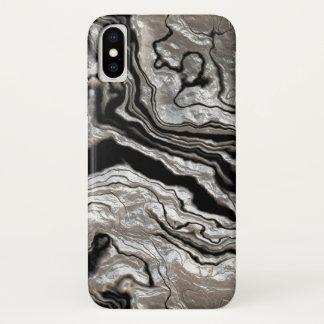 溶解した銀製の黒い大理石パターン iPhone X ケース