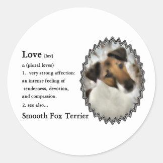 滑らかなフォックステリア犬のギフト ラウンドシール