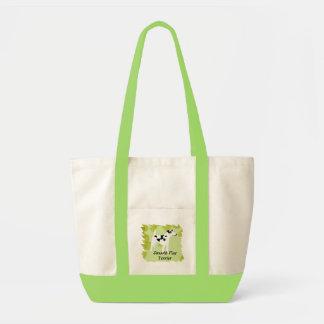 滑らかなフォックステリア犬の~の緑の葉のデザイン トートバッグ