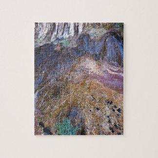 滝および植物成長を用いる崖の顔 ジグソーパズル