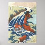 滝と馬、北斎の滝および馬、Hokusai、Ukiyo-e ポスター