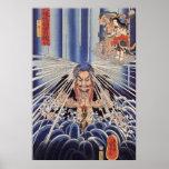 滝に打たれる僧、滝の国芳の修道士、Kuniyoshi ポスター